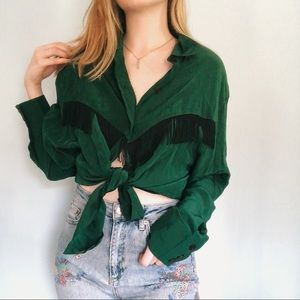 Vintage Green Silk Blouse with Fringe